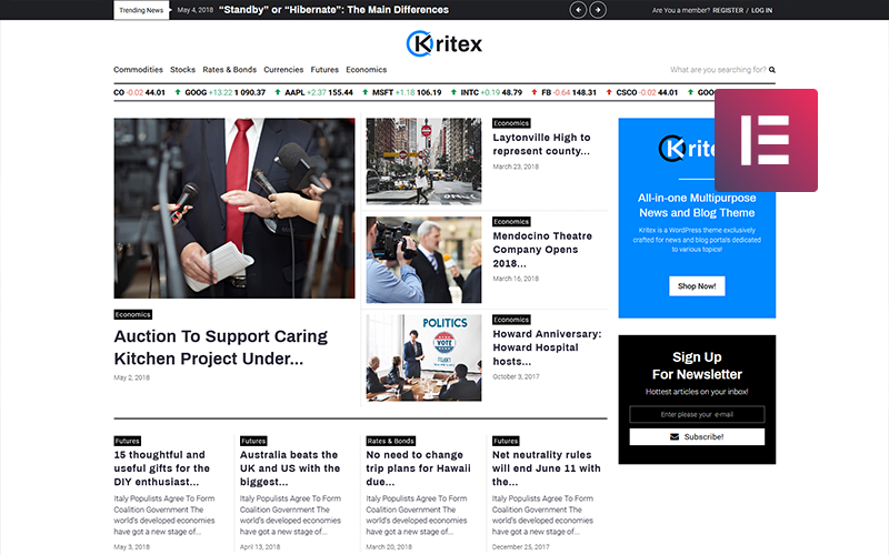 Kritex - Corporate News Blog Modern WordPress Elementor Theme